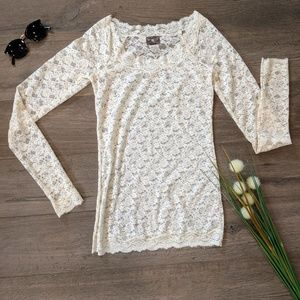 FREE PEOPLE WHITE LACE LONG SLEEVE SHIRT